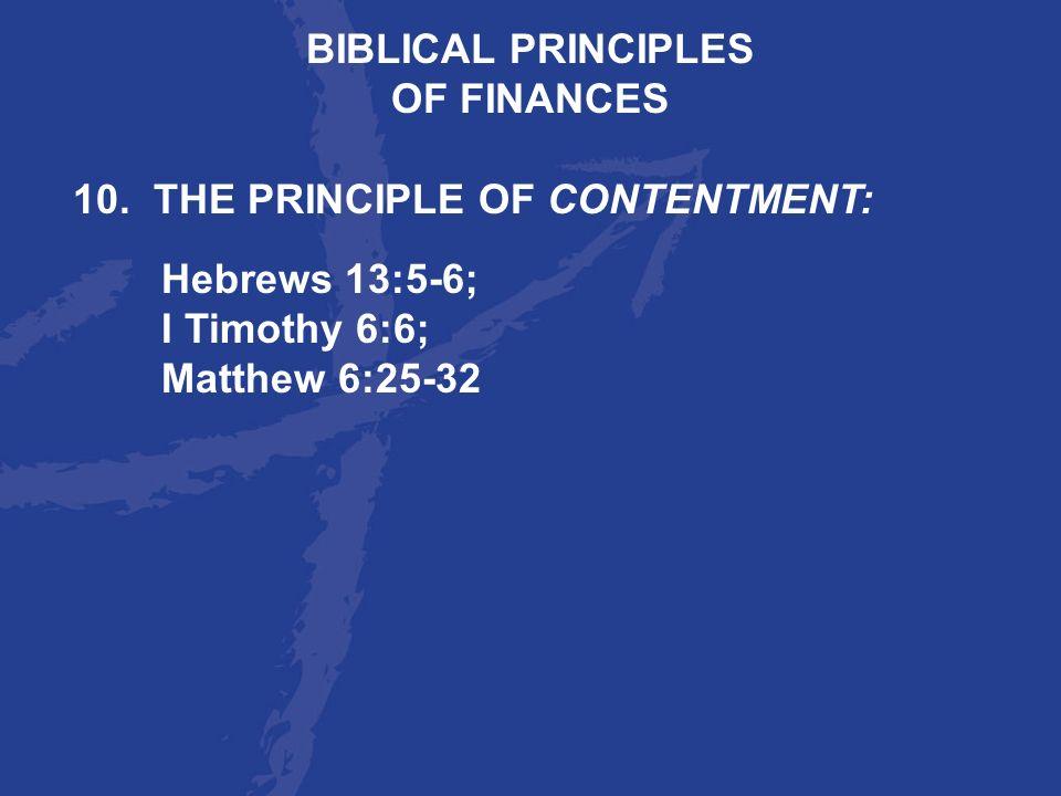 BIBLICAL PRINCIPLESOF FINANCES.
