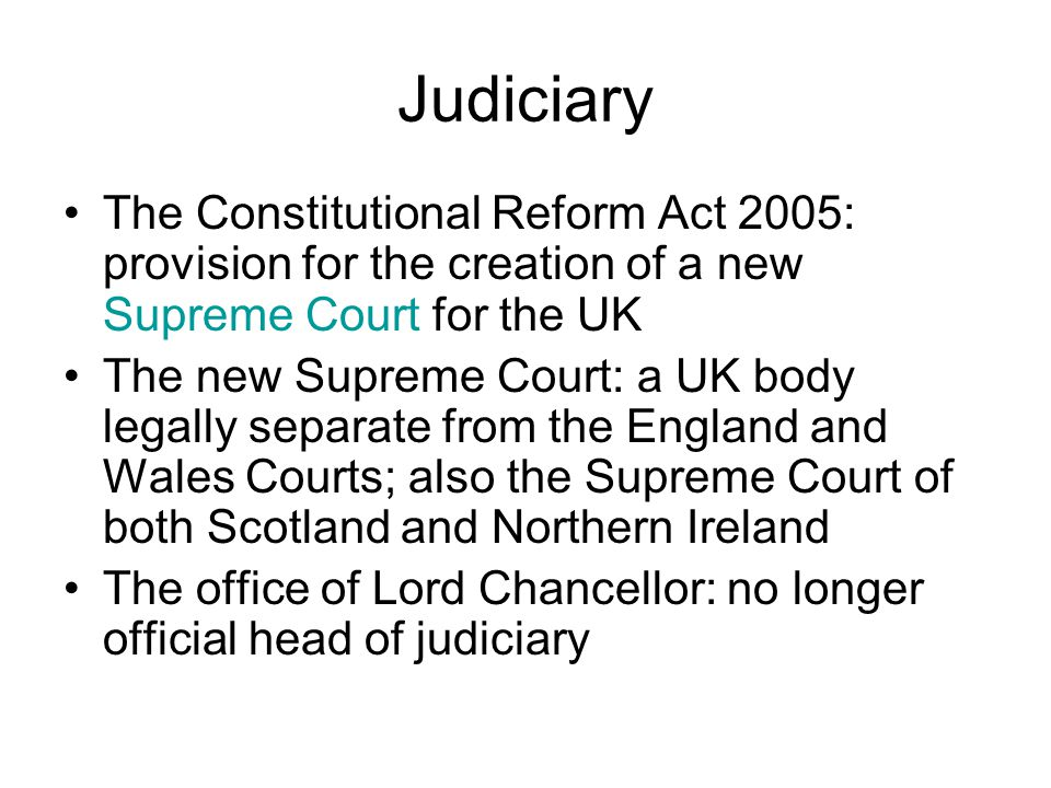constitutional reform act 2005 essay Abstract judicial independence in the uk—role of the lord chancellor—constitutional reform act 2005—lack of institutional autonomy—defending judicial.