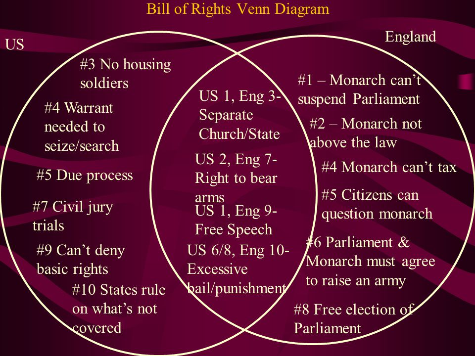 Compare and contrast the US Bill of Rights and the English Bill of Rights.