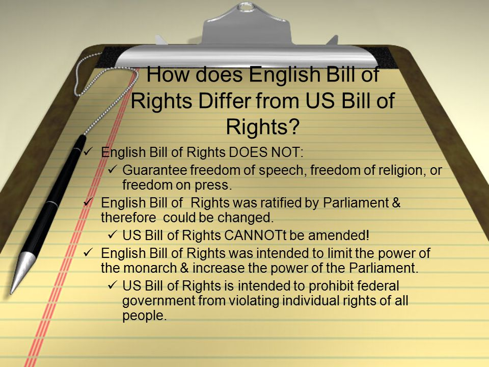 How does English Bill of Rights Differ from US Bill of Rights