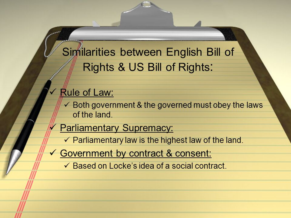 Similarities between English Bill of Rights & US Bill of Rights: