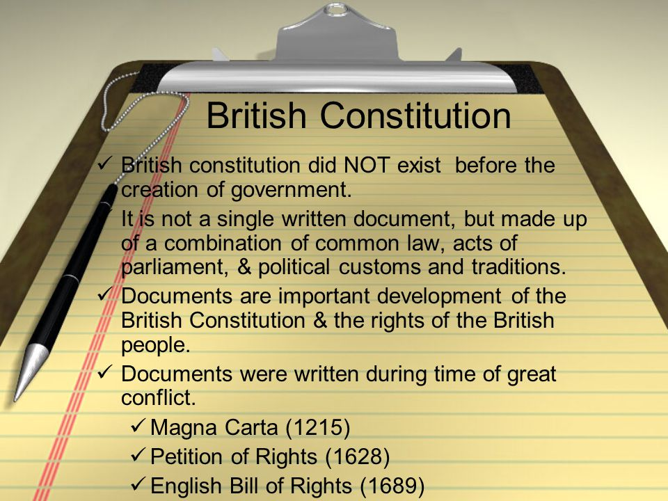 British Constitution British constitution did NOT exist before the creation of government.
