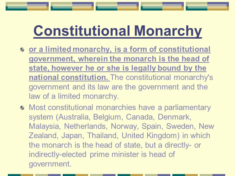 Limited monarchy examples