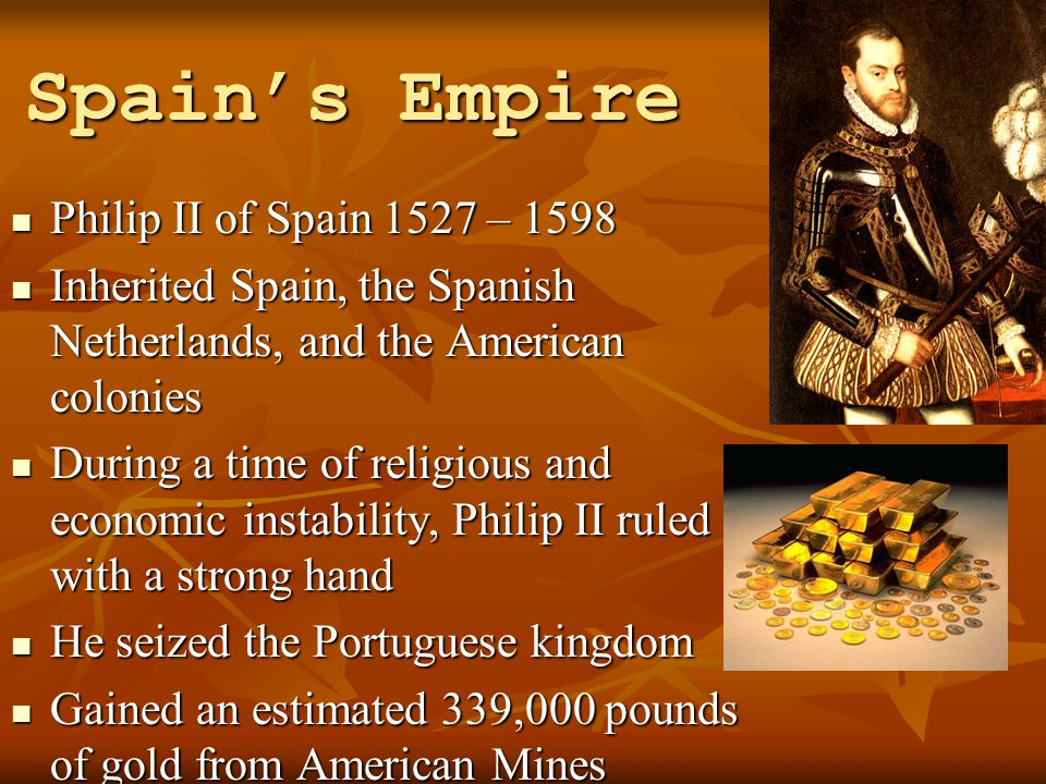 Spain's Empire Philip II of Spain 1527 – 1598