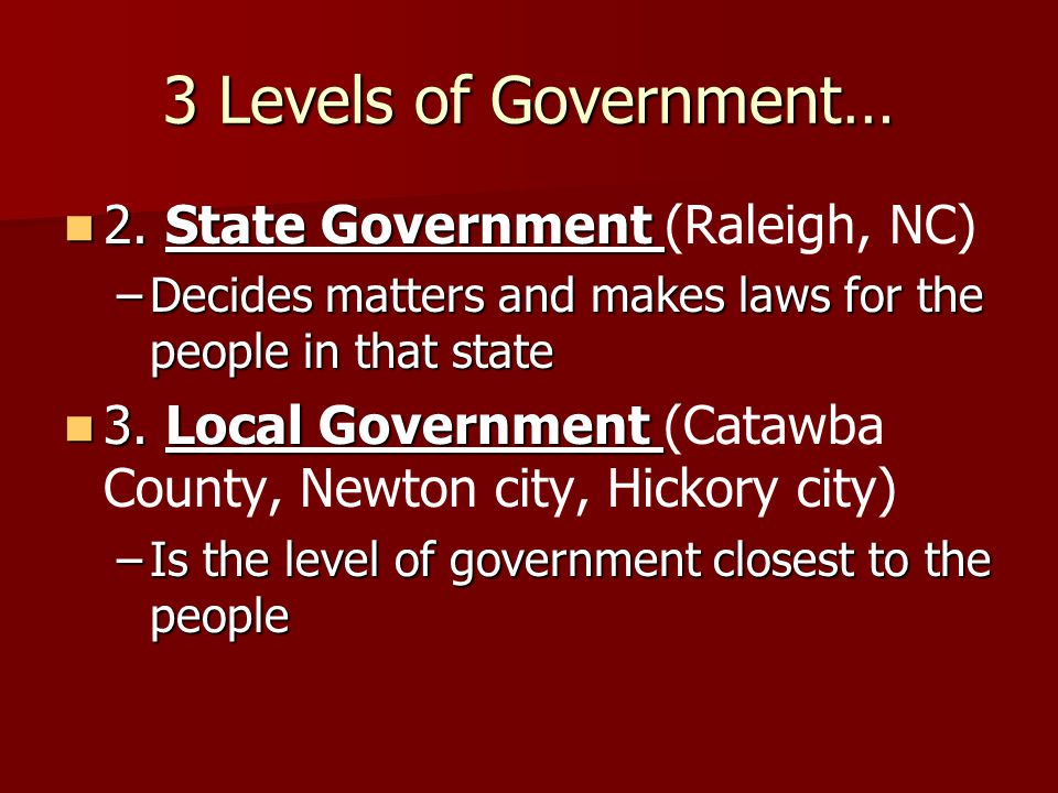 3 Levels of Government… 2. State Government (Raleigh, NC)