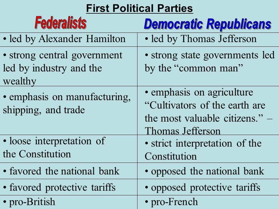 Constitutional Characterizations of Federalists and Democratic Republicans Essay Sample