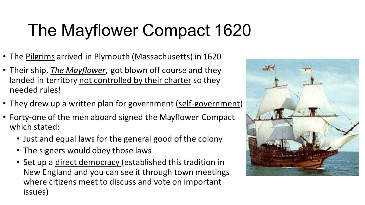 the mayflower compacts signifigance The mayflower compact that the pilgrims signed in 1620 is the firstexample of many colonial plans for self government.