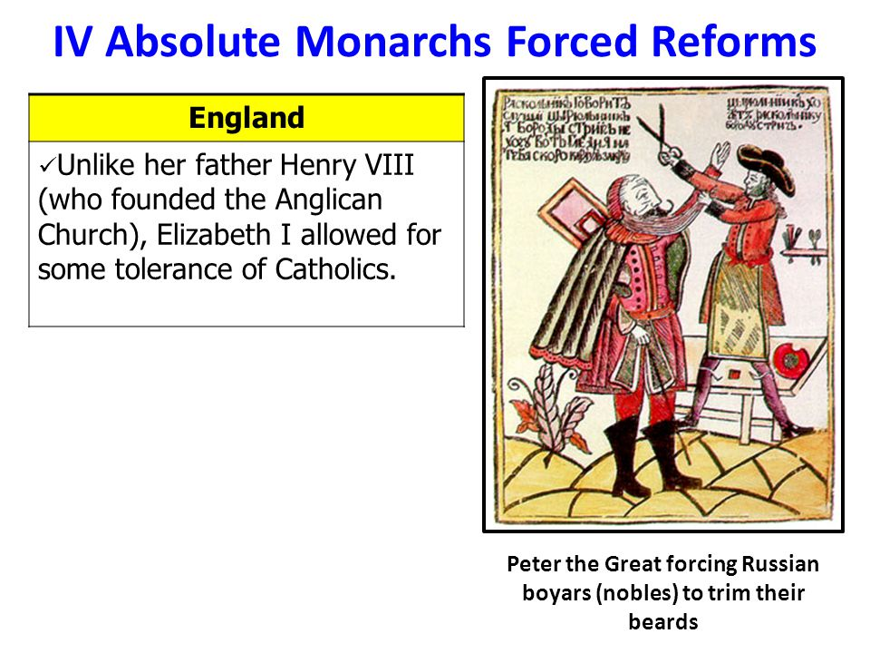 IV Absolute Monarchs Forced Reforms
