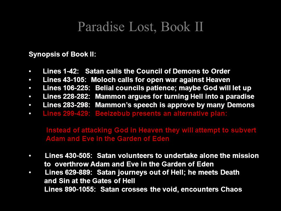 paradise lost satans speeches Satan character timeline in paradise lost the timeline below shows where the character satan appears in paradise lost  the colored dots and icons indicate which themes are associated with that appearance.