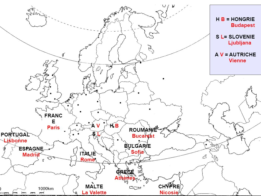 H B = HONGRIE Budapest. S L= SLOVENIE. Ljubljana. A V = AUTRICHE. Vienne. FRANCE. Paris. A V.
