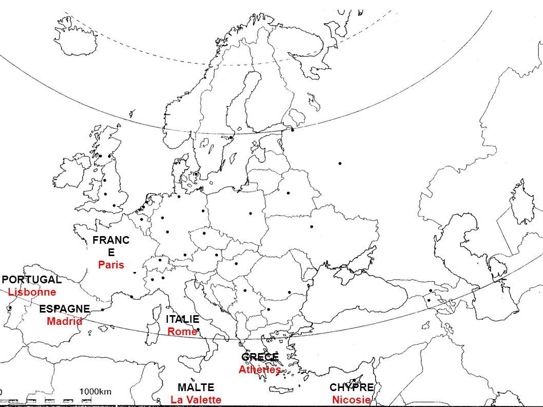 FRANCE Paris. PORTUGAL. Lisbonne. ESPAGNE. Madrid. ITALIE. Rome. GRECE. Athènes. MALTE. La Valette.