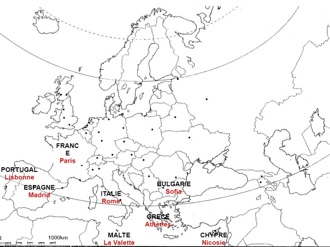FRANCE Paris. PORTUGAL. Lisbonne. BULGARIE. Sofia. ESPAGNE. Madrid. ITALIE. Rome. GRECE. Athènes.