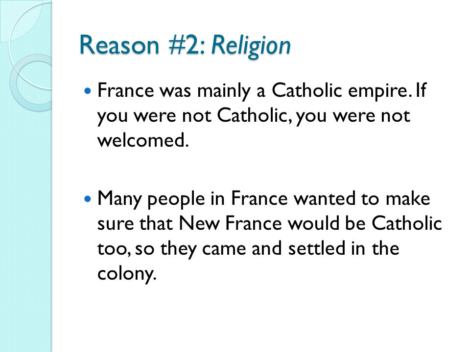 religion in new france New france now had over 50,000 inhabitants french culture and religion remained dominant in most of the former territory of new france.