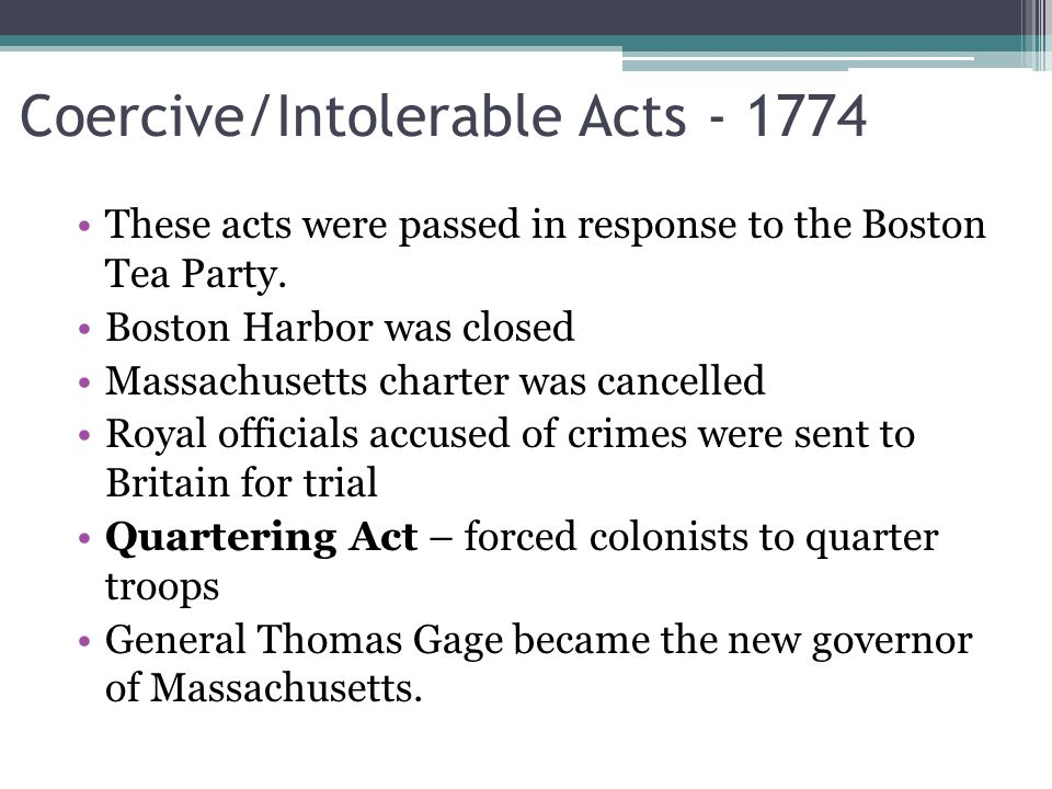 Coercive/Intolerable Acts