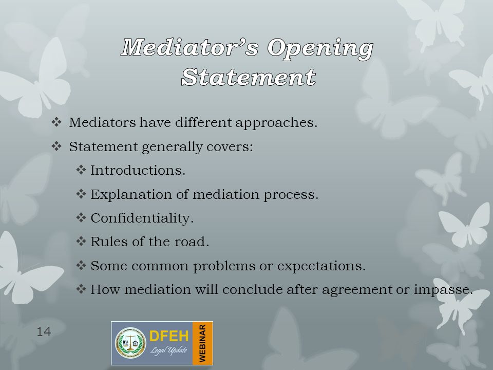 mediation opening statement