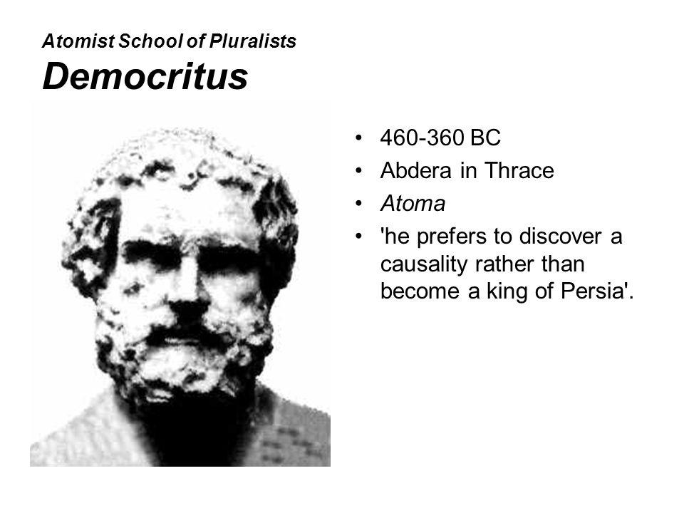 Atomist School of Pluralists Democritus