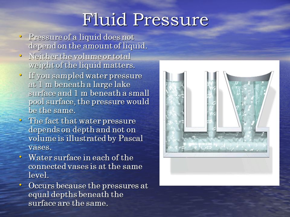 Fluid Pressure Pressure of a liquid does not depend on the amount of liquid. Neither the volume or total weight of the liquid matters.