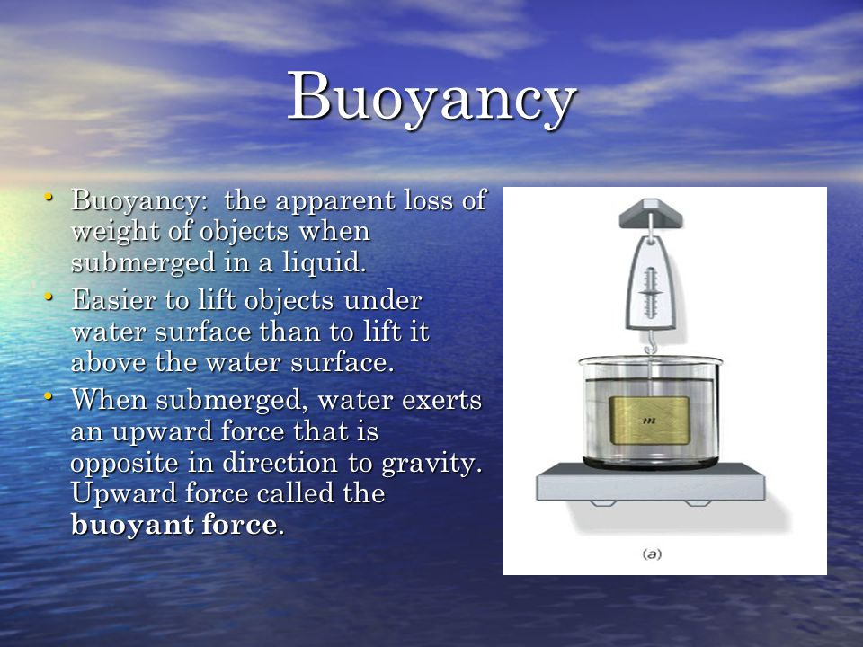 Buoyancy Buoyancy: the apparent loss of weight of objects when submerged in a liquid.