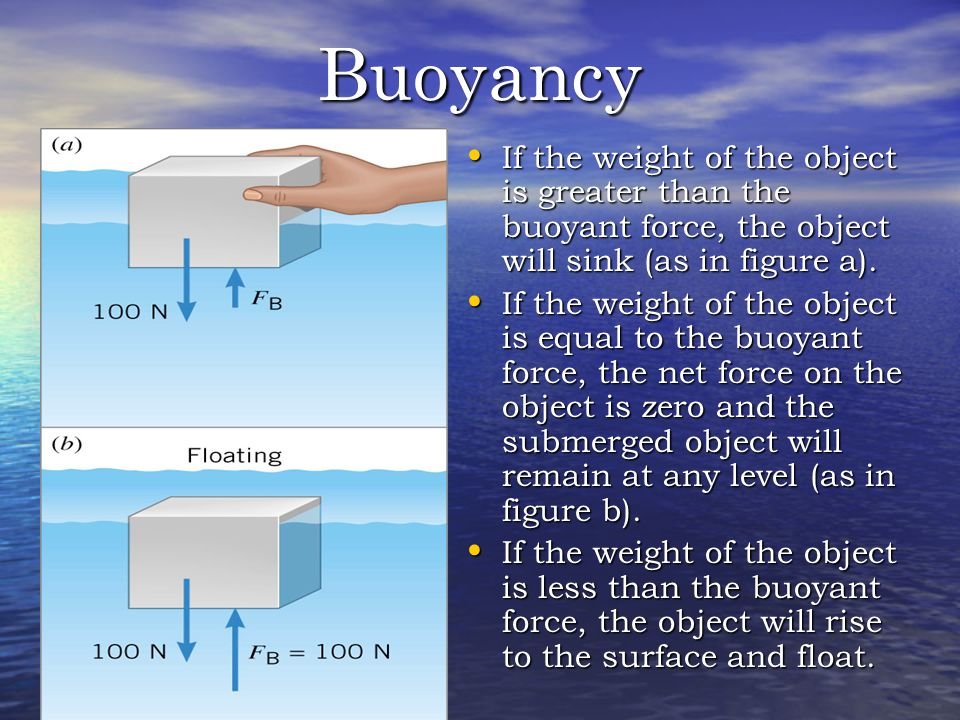 Buoyancy If the weight of the object is greater than the buoyant force, the object will sink (as in figure a).