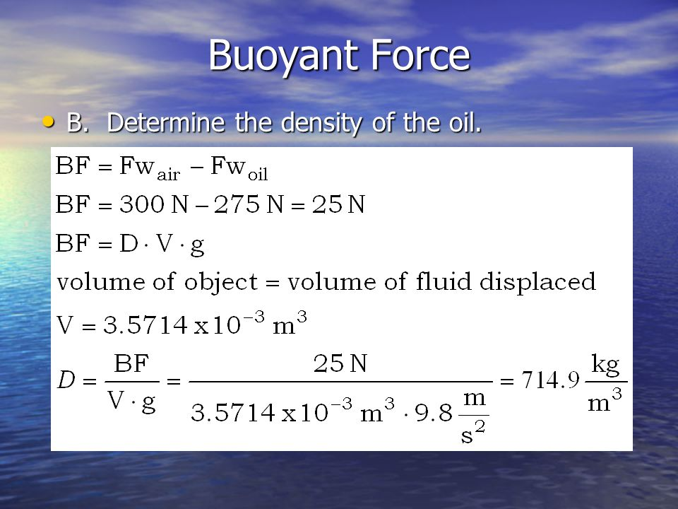 Buoyant Force B. Determine the density of the oil.