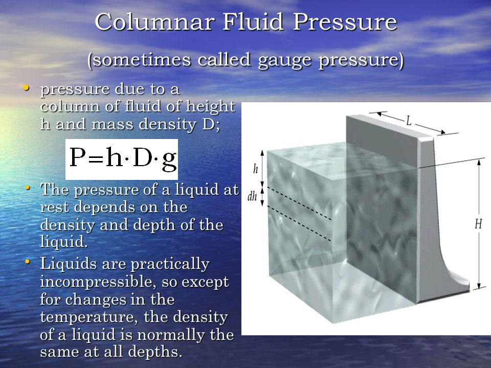 Columnar Fluid Pressure (sometimes called gauge pressure)
