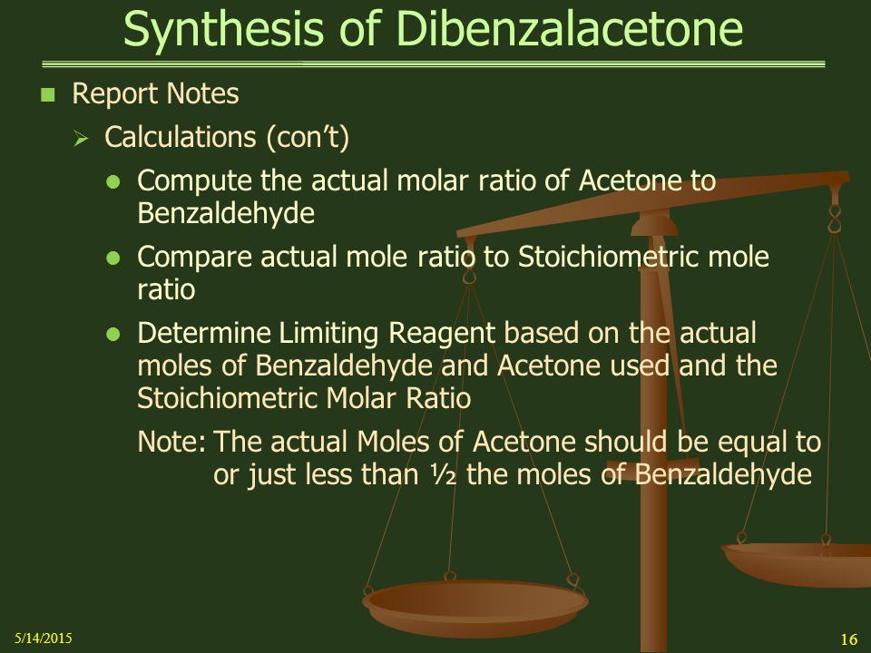 the aldol condensation: synthesis of dibenzalacetone essay Read this full essay on the aldol condensation: synthesis of dibenzalacetone  objective:the benefit of this lab was to acquaint oneself with the fundamentals.