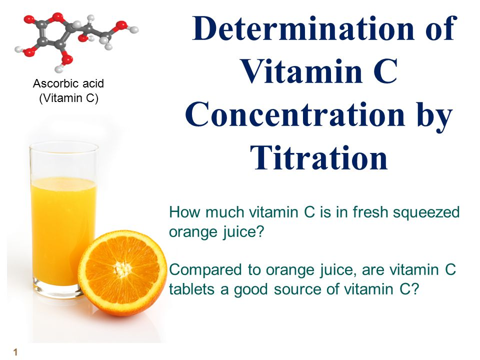 determination of the concentration of vitamin c by using the dcpip test Measure the vitamin c content of a sample of fruit juice by measuring the volume of the sample required to decolourise a solution of dcpip calibrate the results by comparison with a known concentration of vitamin c.