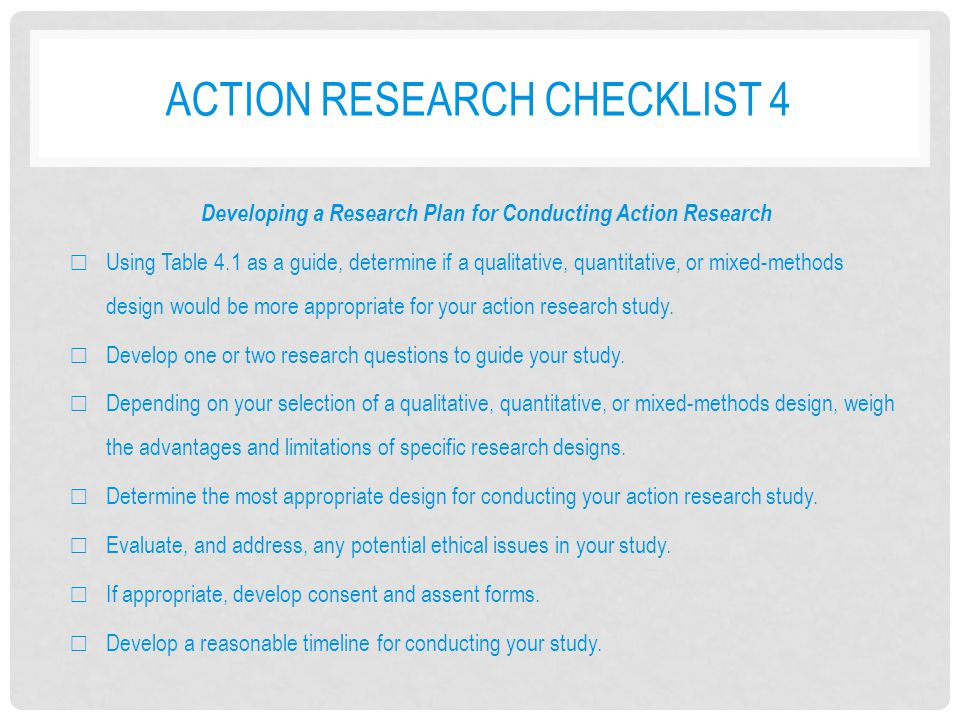 Action research checklist 4
