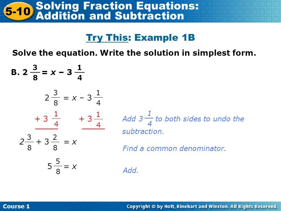 how to solve fraction equations tessshebaylo. Black Bedroom Furniture Sets. Home Design Ideas