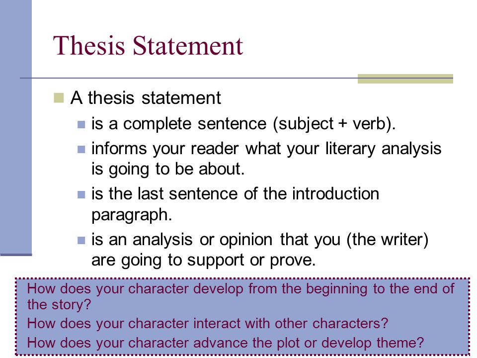 How to Write a Thesis Statement for a Literary Analysis Essay