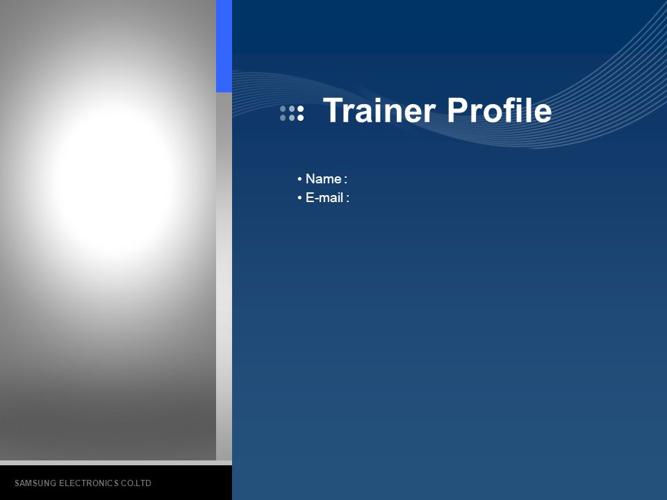 Trainer Profile Name :   SAMSUNG ELECTRONICS CO.LTD