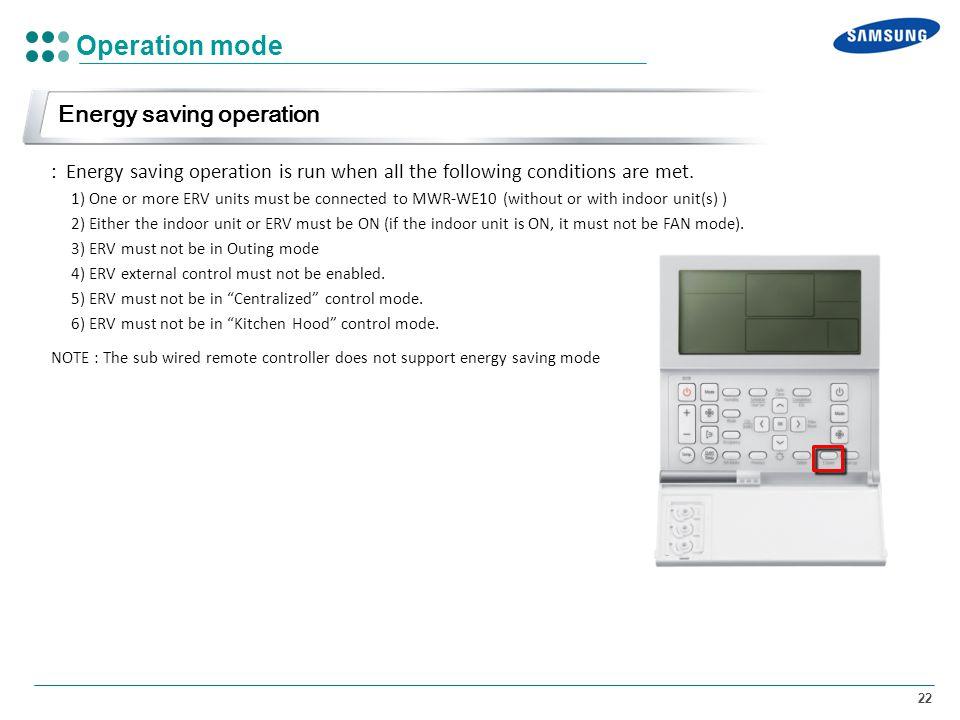 Operation mode Energy saving operation
