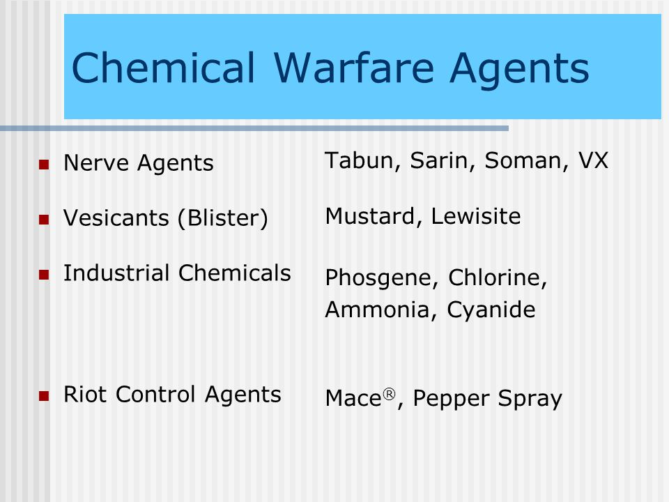 blister agents a chemical warfare agents essay I have an essay due  like substance in the lungs blister agents - causes severe chemical burns  do you know about chemicals warfare.