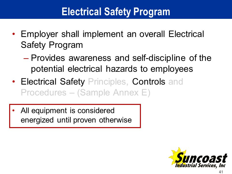 how to create an electrical safety program