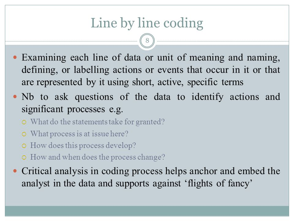 Line by line coding