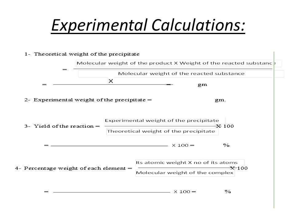 Experimental Calculations: