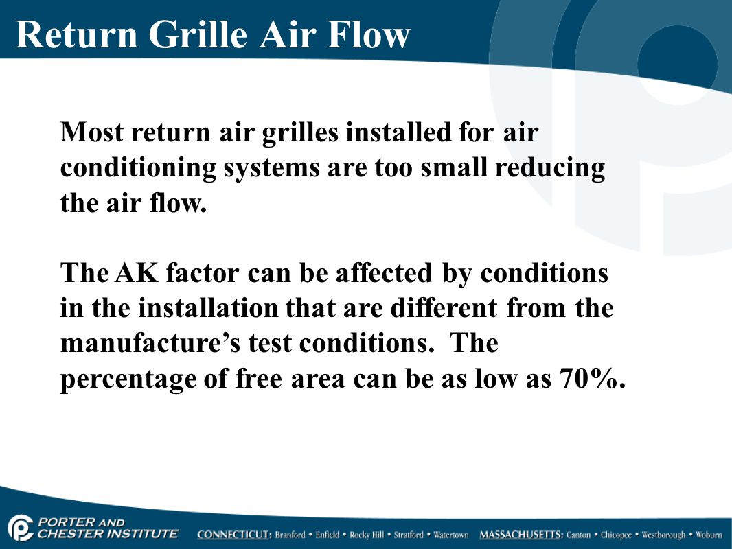 Return Grille Air Flow Most return air grilles installed for air conditioning systems are too small reducing the air flow.