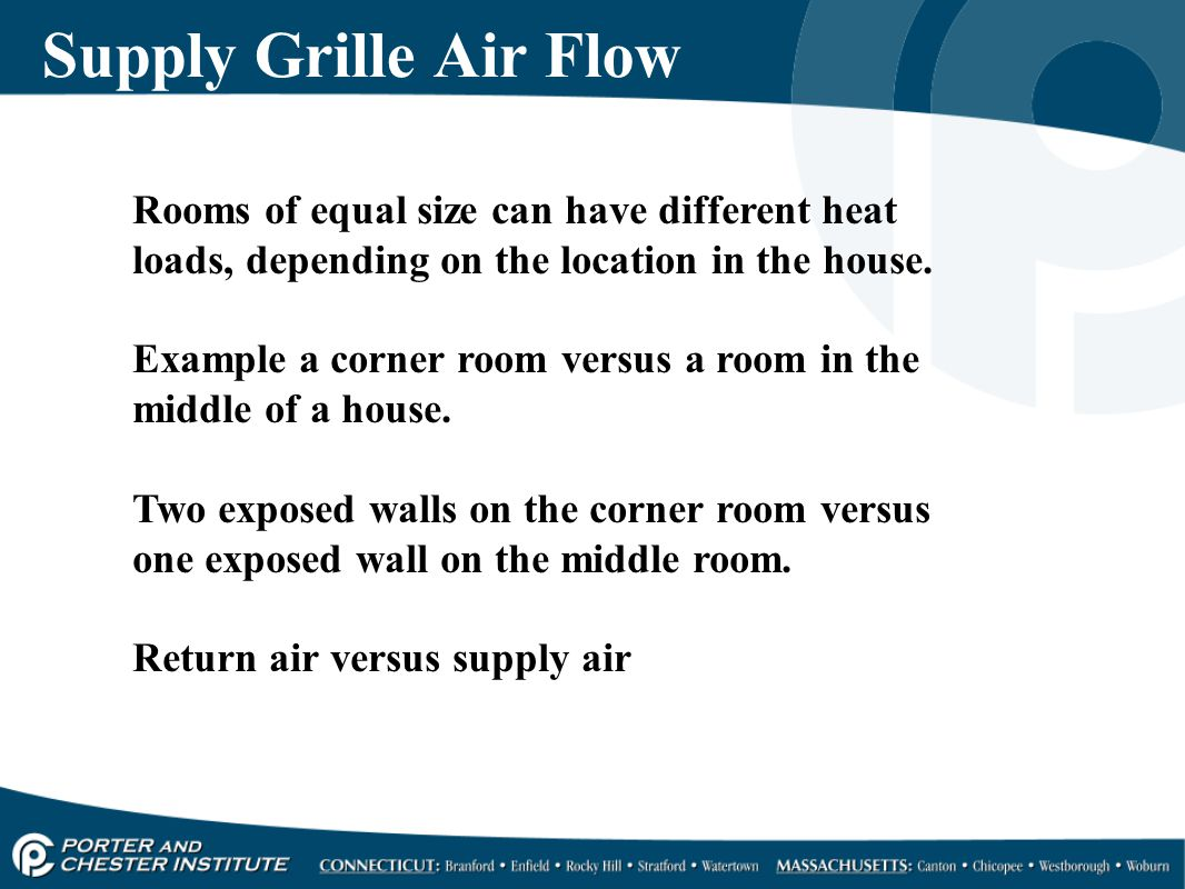 Supply Grille Air Flow Rooms of equal size can have different heat loads, depending on the location in the house.