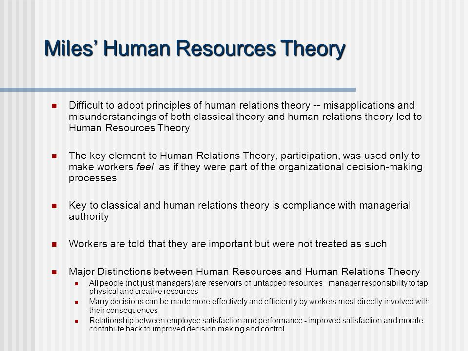 Human Relations Theory by Elton Mayo
