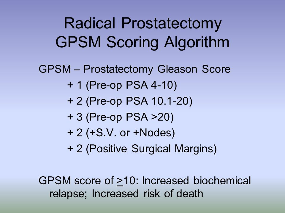 Radical Prostatectomy GPSM Scoring Algorithm