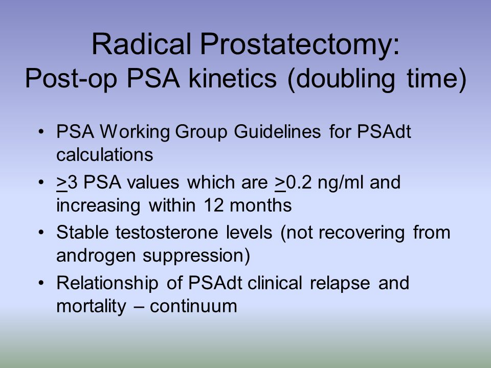 Radical Prostatectomy: Post-op PSA kinetics (doubling time)