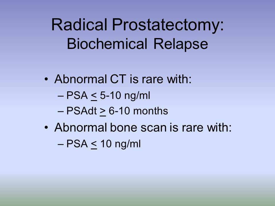 Radical Prostatectomy: Biochemical Relapse