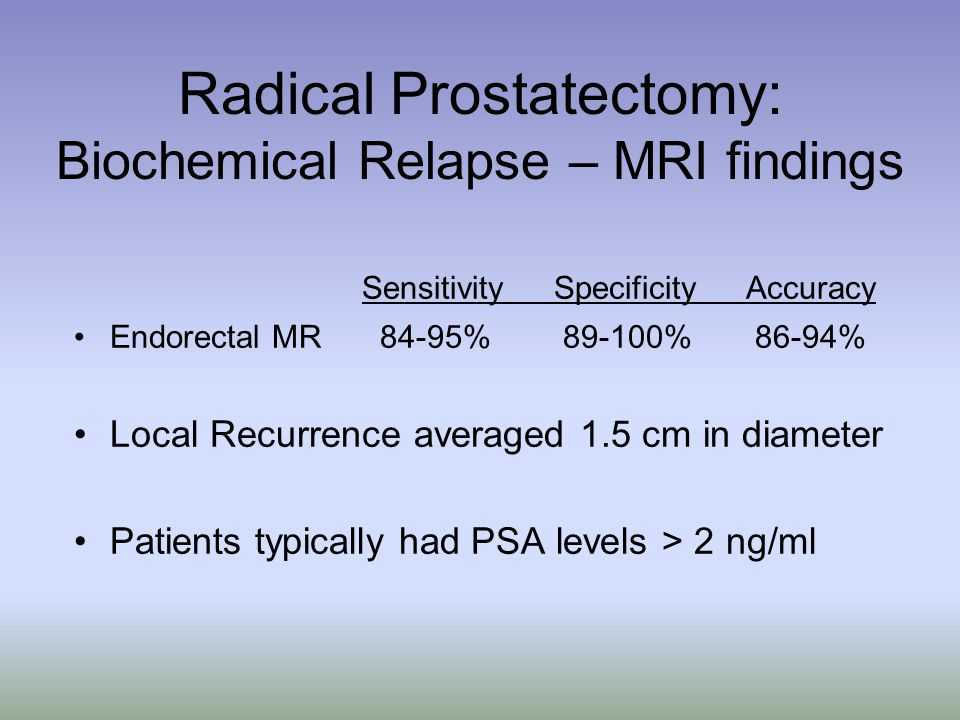 Radical Prostatectomy: Biochemical Relapse – MRI findings