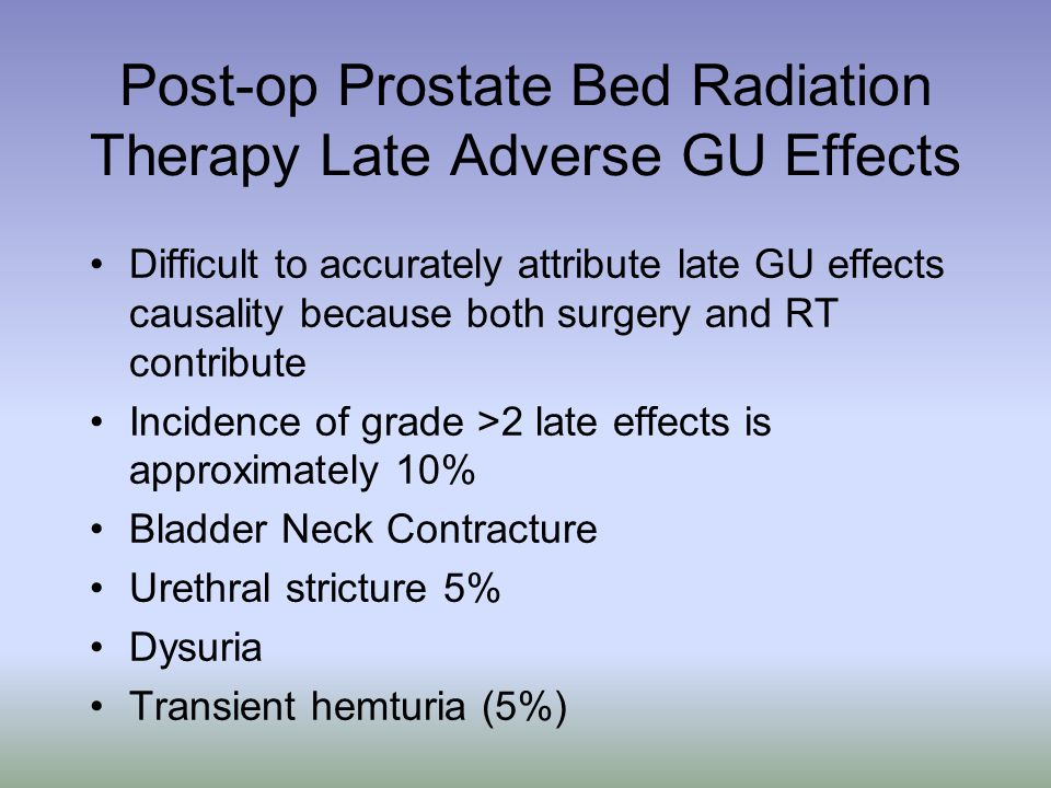 Post-op Prostate Bed Radiation Therapy Late Adverse GU Effects
