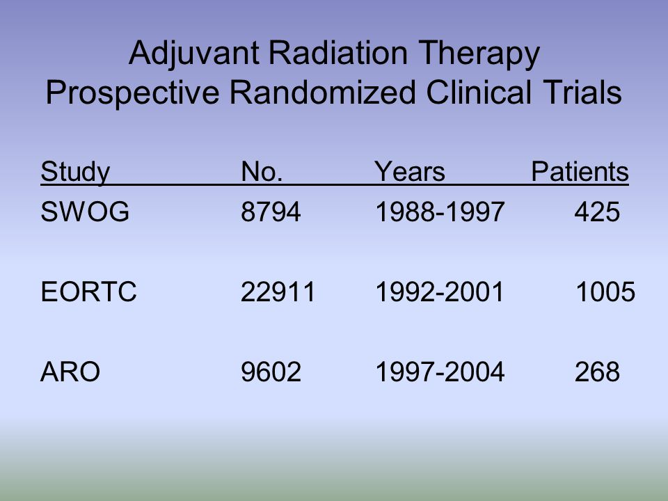 Adjuvant Radiation Therapy Prospective Randomized Clinical Trials