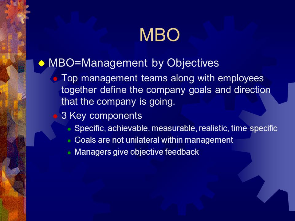 MBO MBO=Management by Objectives