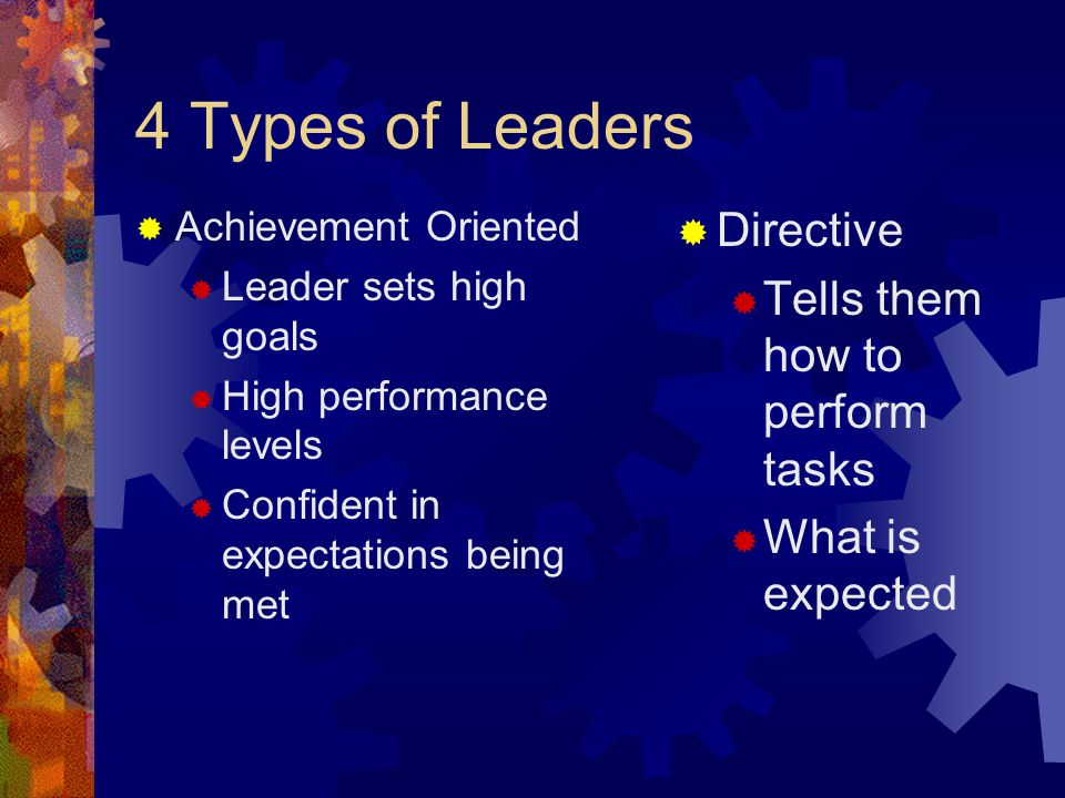 4 Types of Leaders Directive Tells them how to perform tasks
