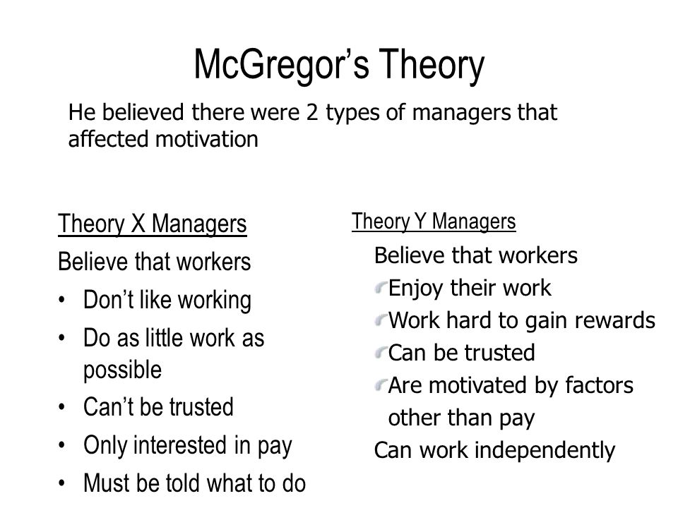 critically evaluate mcgregors theroy x and In 1960, douglas mcgregor proposed theory x and theory y,  should such a relationship exist, it is worthwhile to examine the individual  those high in agreeableness are less likely to be critical or skeptical and more.