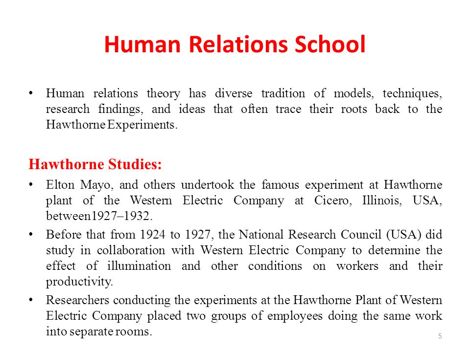 human relations school So long as commerce specializes in business methods which take no account of human nature and social motives, so long may we expect strikes and sabotage to be the ordinary accompaniment of industry elton mayo, professor of industrial management, harvard business school, 1920 elton mayo, ca 1950 .