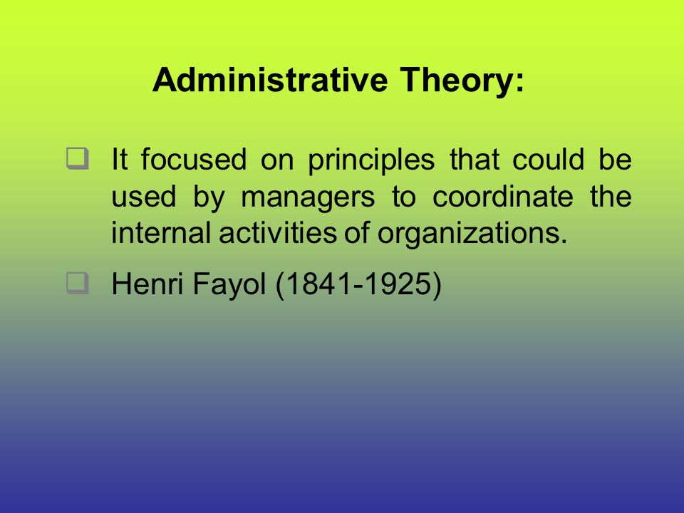 Administrative Theory: